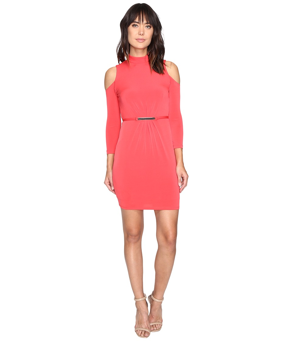 Jessica Simpson Cold Shoulder Mock Nuck Dress (Hot Coral) Women