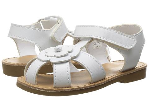 Baby Deer Closed Toe Flower Sandal (Infant/Toddler) - White
