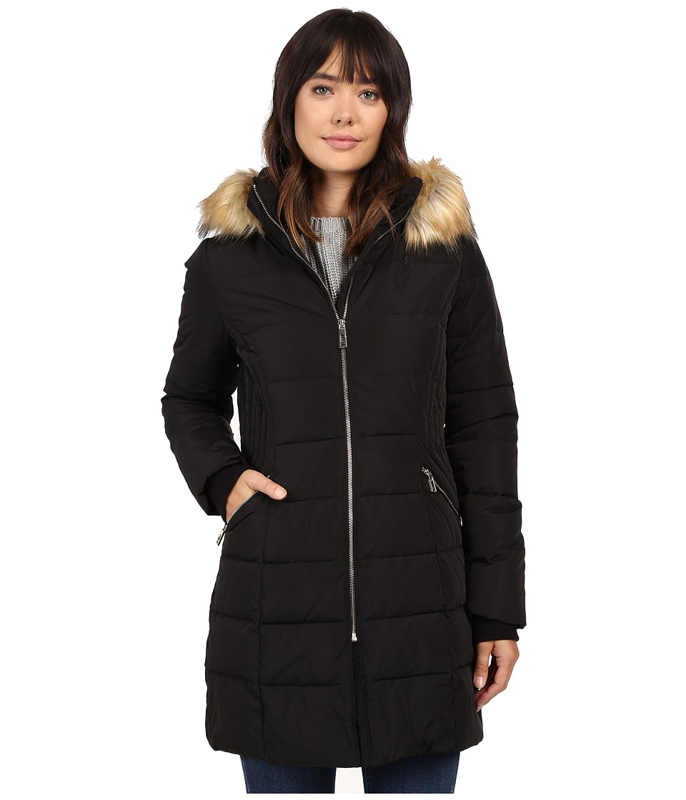 Ivanka Trump Down Coat with Cinched in Sides and Faux Fur Hood (Black) Women