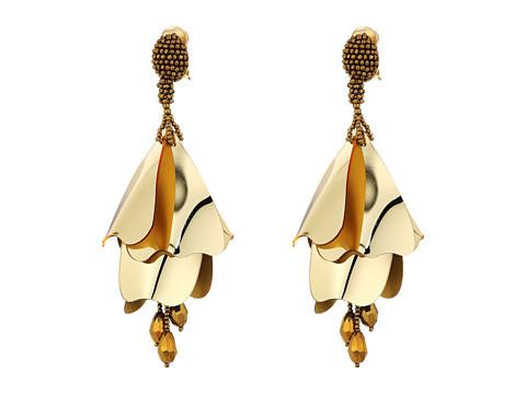 Oscar de la Renta Large Impatiens Flower Drop C Earrings - Gold