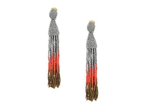 Oscar de la Renta Long Ombre Tassel C Earrings - Silver Mutli