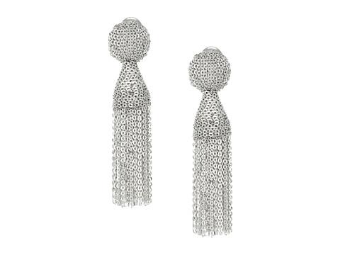 Oscar de la Renta Class Short Chain Tassel Earrings - Silver