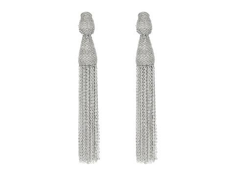 Oscar de la Renta Classic Long Chain Tassel C Earrings - Silver