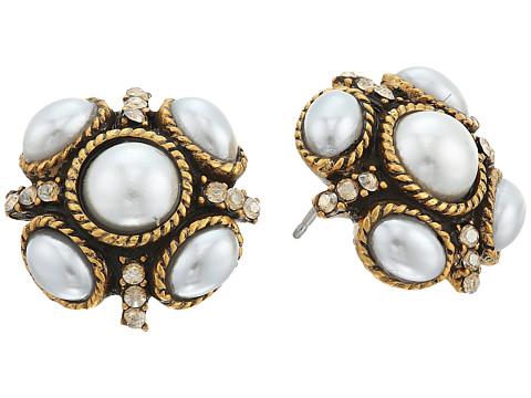 Oscar de la Renta Classic Button P Earrings - Pearl