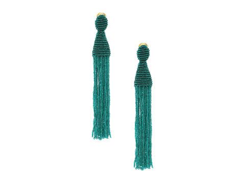 Oscar de la Renta Long Beaded C Tassel Earrings - Emerald
