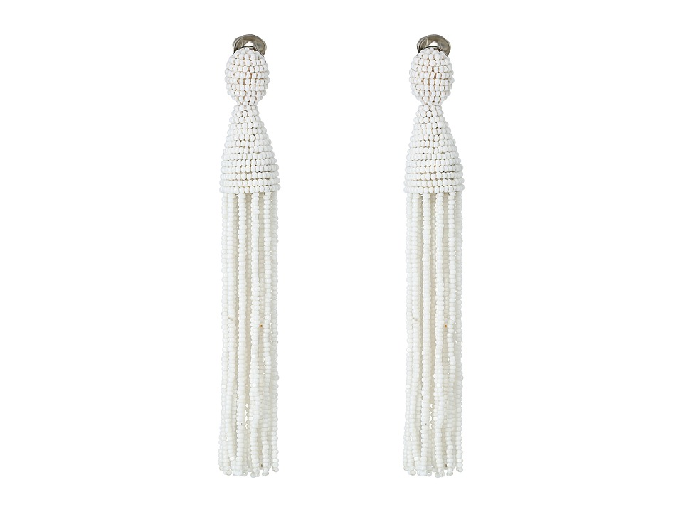 Oscar de la Renta - Long Beaded C Tassel Earrings (White) Earring