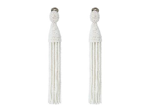 Oscar de la Renta Long Beaded C Tassel Earrings - White