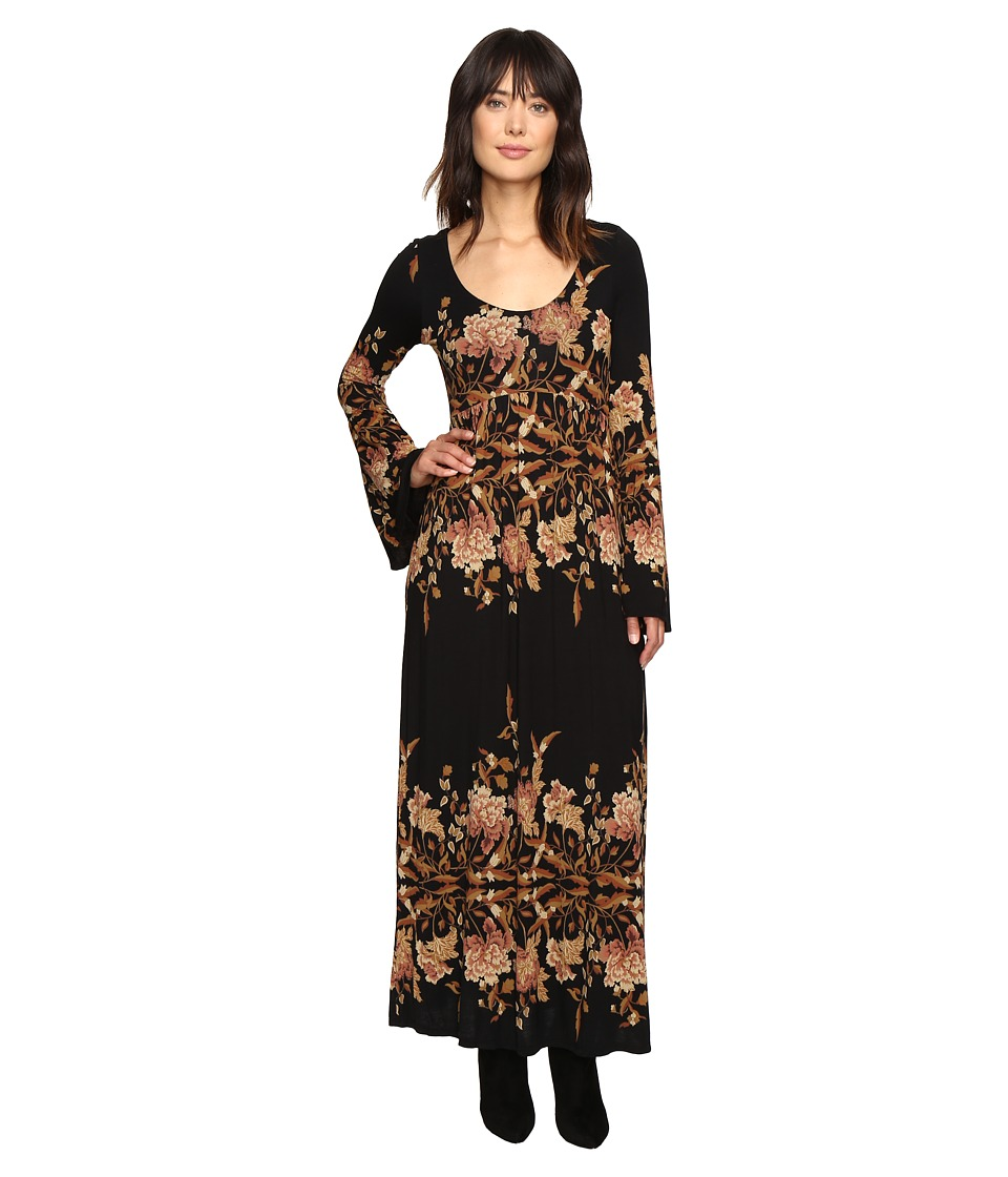 Free People Midnight Garden Midi Dress (Black Combo) Women