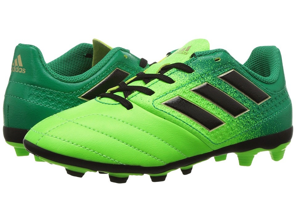 adidas Kids Ace 17.4 FxG Soccer (Little Kid/Big Kid) (Solar Green/Black/Core Green) Kids Shoes