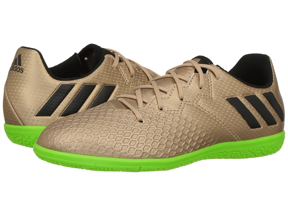 adidas Kids Messi 16.3 IN Soccer (Little Kid/Big Kid) (Copper Metallic/Black/Solar Green) Kids Shoes