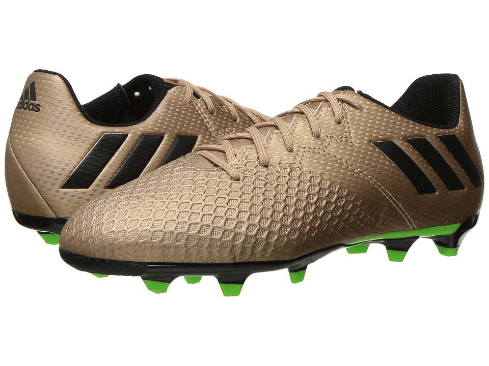 adidas Kids Messi 16.3 FG Soccer (Little Kid/Big Kid) (Copper Metallic/Black/Solar Green) Kids Shoes