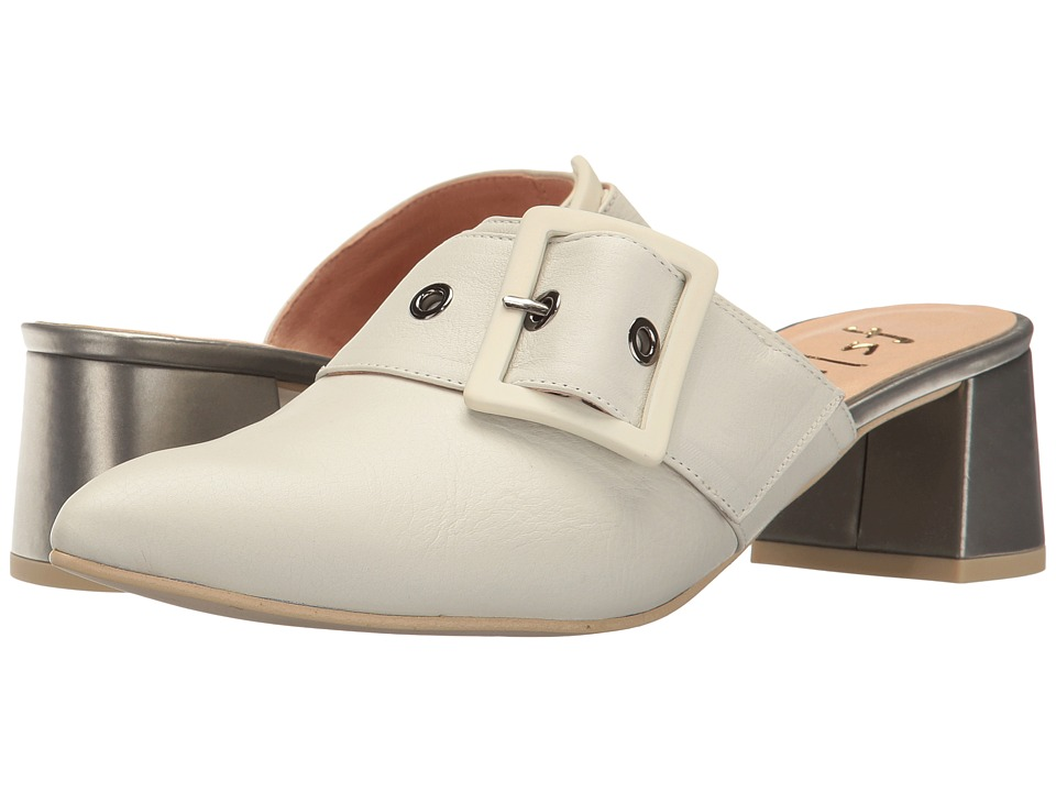 French Sole Widget (Off-White Soft Calfskin Leather/Silver Metallic Leather) Women
