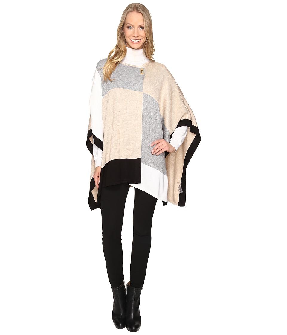 Calvin Klein Color Blocked Poncho Sweater (Heather Latte 1) Women