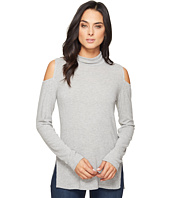 HEATHER - Brushed Hacci Cold Shoulder Turtleneck