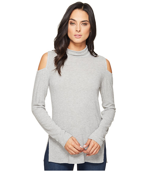 HEATHER Brushed Hacci Cold Shoulder Turtleneck