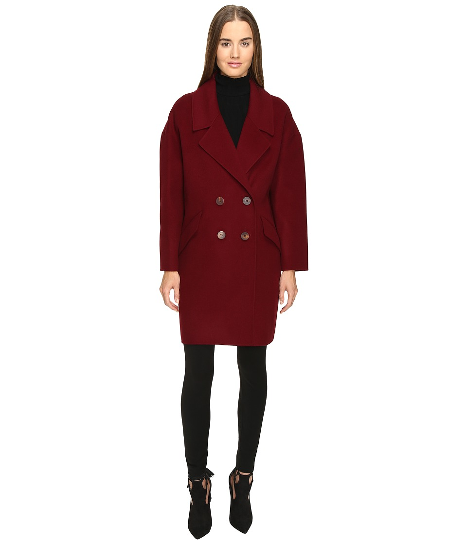 Diane von Furstenberg - Roma Solid Double Face Wool Boyfriend Coat (Wine) Womens Coat