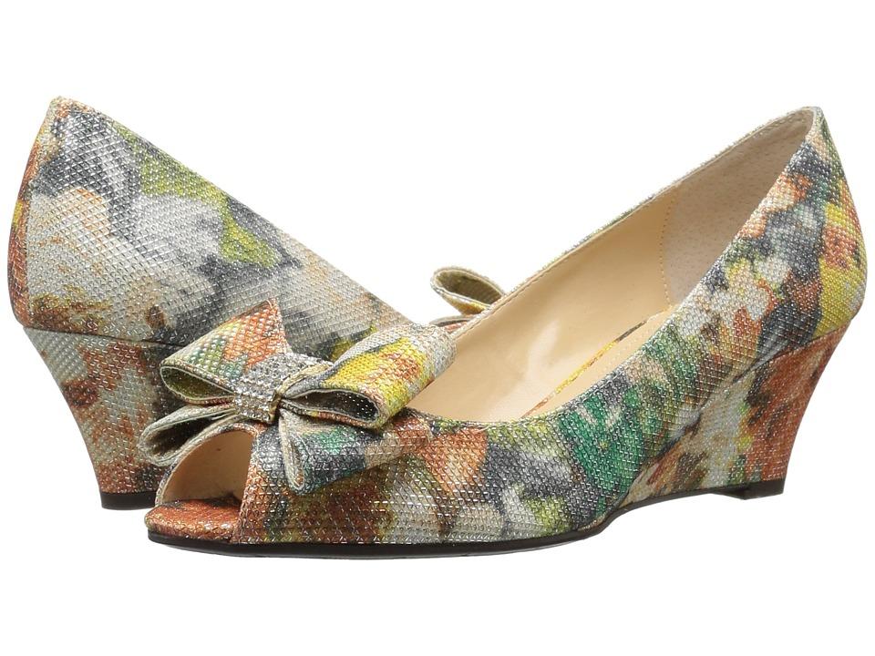 Shop Pin Up Shoes J. Renee - Blare Dusty Orange Multi High Heels $104.95 AT vintagedancer.com