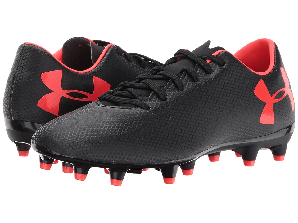 Under Armour - UA Force 3.0 FG (Black/Neon Coral) Mens Cleated Shoes