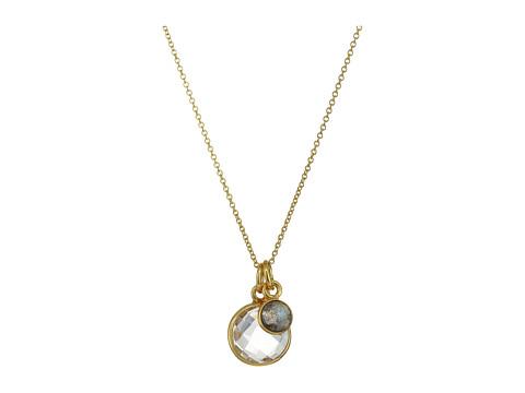 Dee Berkley Double Gemstone Necklace Labradorite and Quartz - Gray