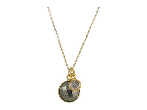Dee Berkley Double Gemstone Necklace Pyrite and Quartz - Gold