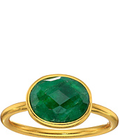 Dee Berkley - Single Oval Stone Adjustable Ring Dyed Emerald