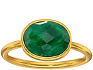 Single Oval Stone Adjustable Ring Dyed Emerald