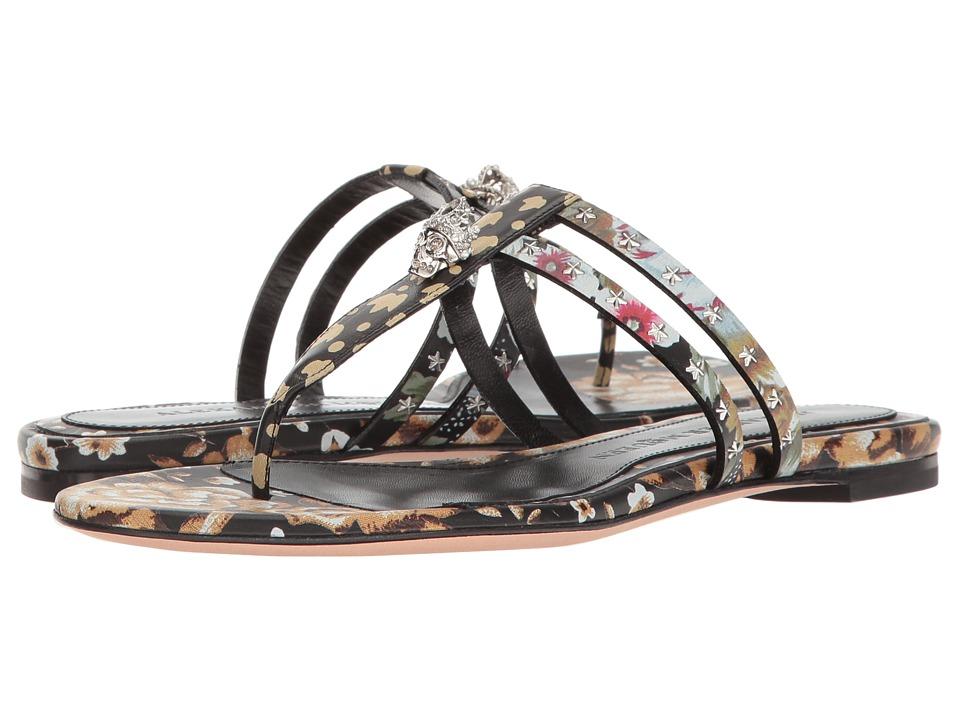Alexander McQueen Sandal Pelle S.Cuoio (Black/Multi/Black/Multi) Women