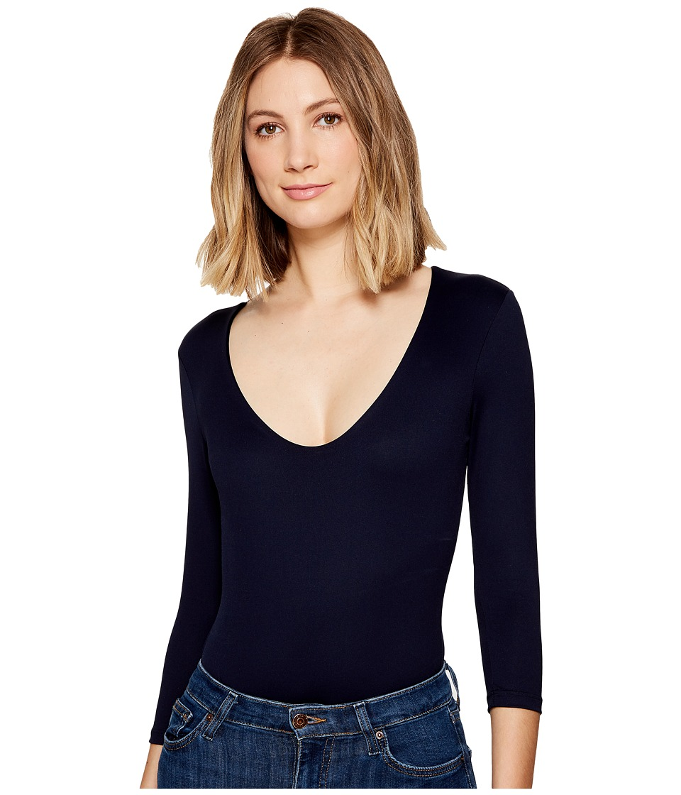Only Hearts Delicious 3/4 Sleeve V-Neck Bodysuit (Navy) W...