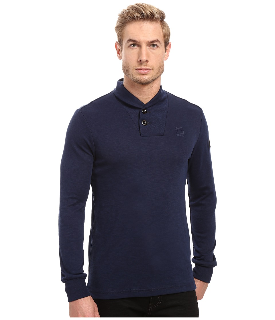 G-Star Poult Collar Tee Long Sleeve (Imperial Blue/Black) Men