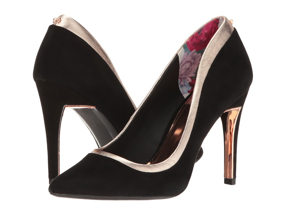 Ted Baker Sayu (Black/Rose Gold Suede/Metallic Leather) High Heels