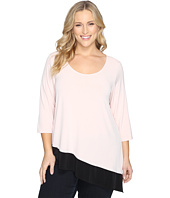 Calvin Klein Plus - Plus Size 3/4 Sleeve Double Layer Angle Top