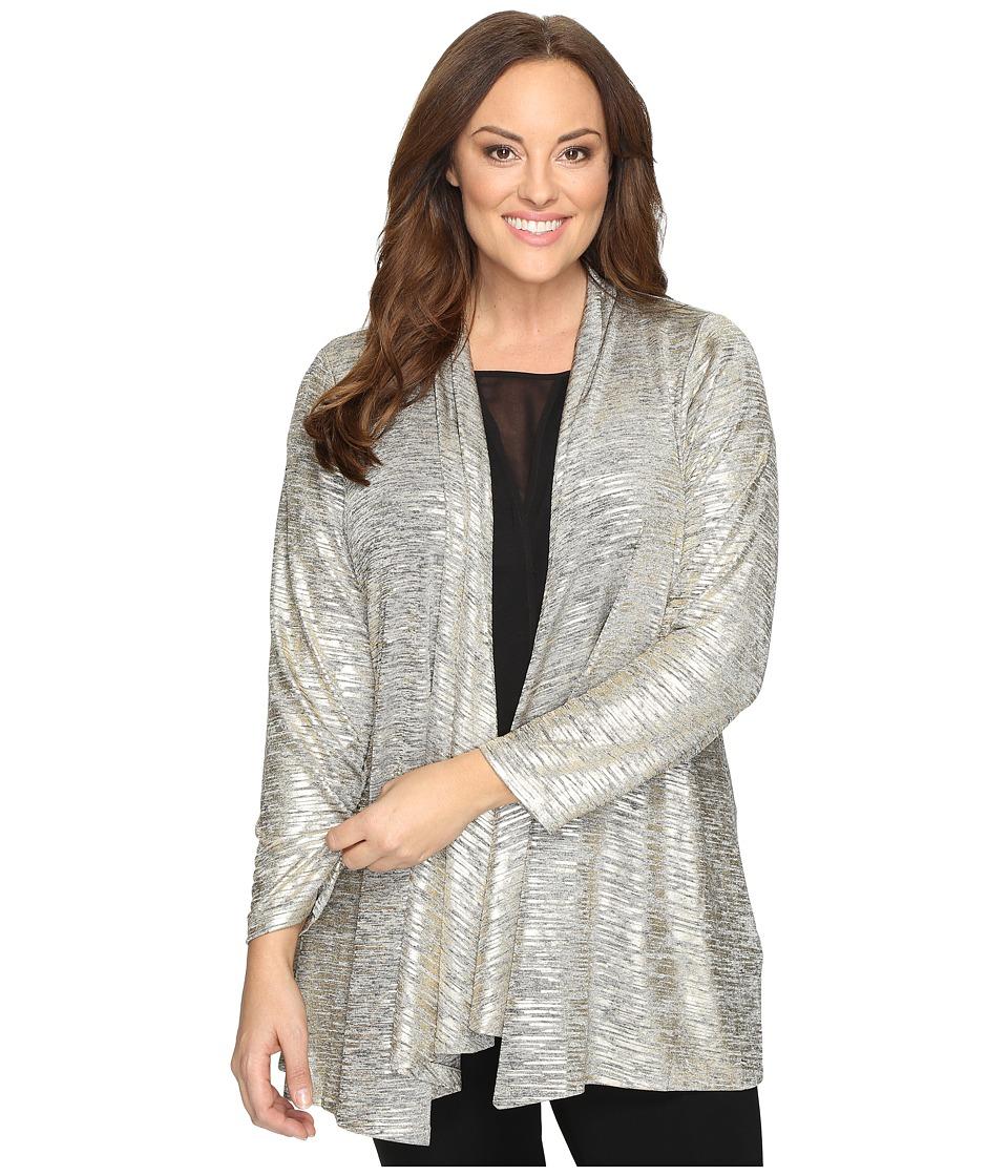 Calvin Klein Plus Plus Size Metallic Flyaway Top (Gold) Women