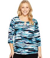 Calvin Klein Plus - Plus Size 3/4 Sleeve Print Top w/ Hardware