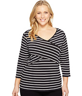 Calvin Klein Plus - Plus Size Long Sleeve Stripe Panel Top