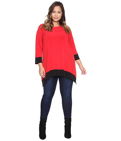Calvin Klein Plus Plus Size Long Sleeve Color Block Sharkbite Top - Rouge