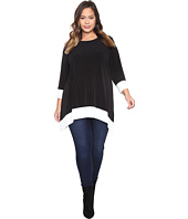 Calvin Klein Plus - Plus Size Long Sleeve Color Block Sharkbite Top