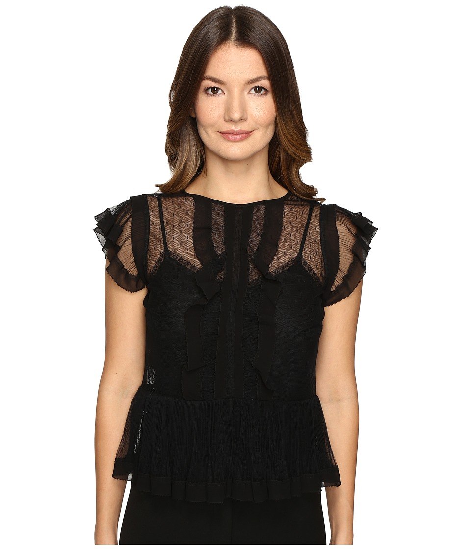 RED VALENTINO - Point D'Esprit and Tulle Top