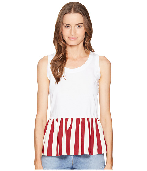RED VALENTINO Light Cotton Jersey & Striped Cotton Top