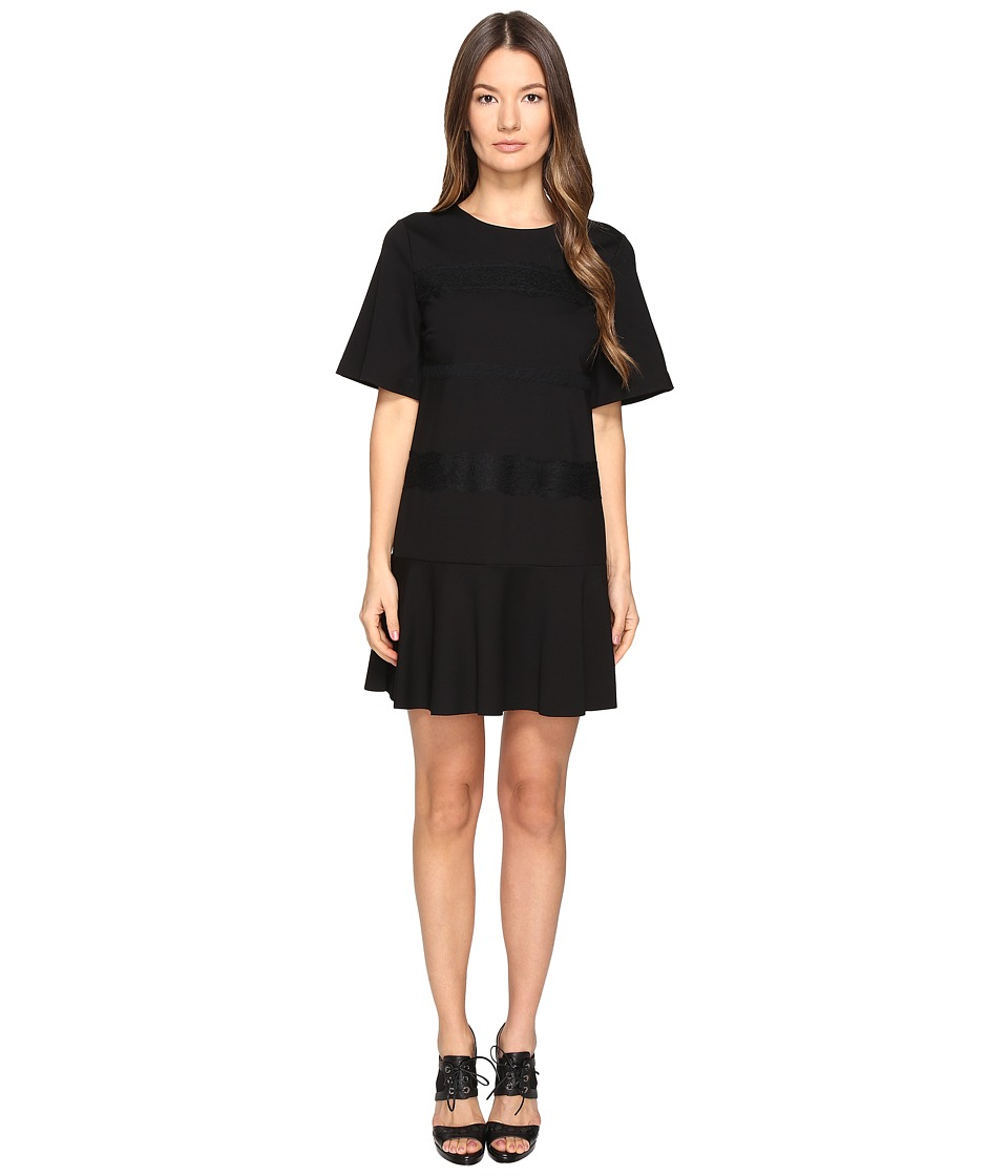 RED VALENTINO - Ponte Jersey and Lace Ribbons Dress