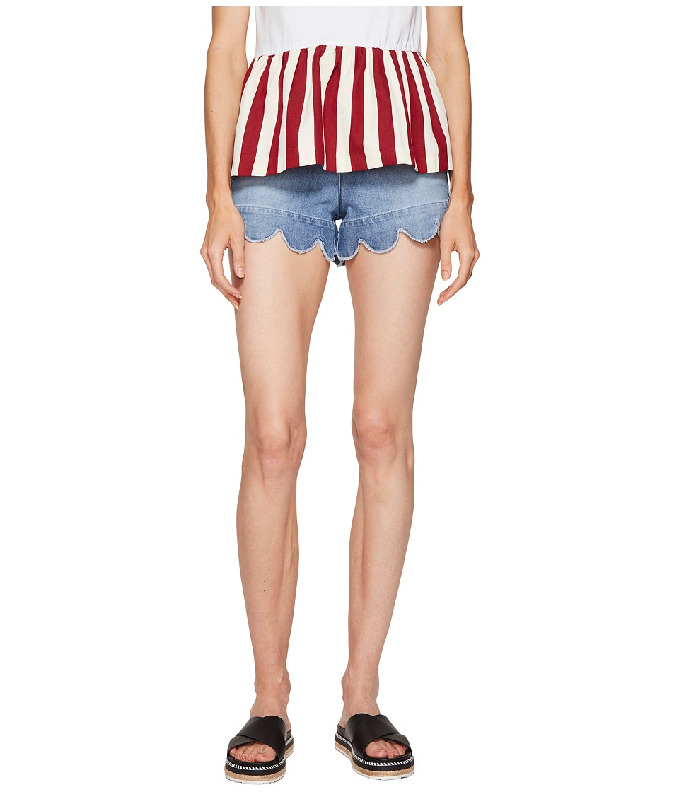 RED VALENTINO - Stone Washed Scallops Embroidery Shorts