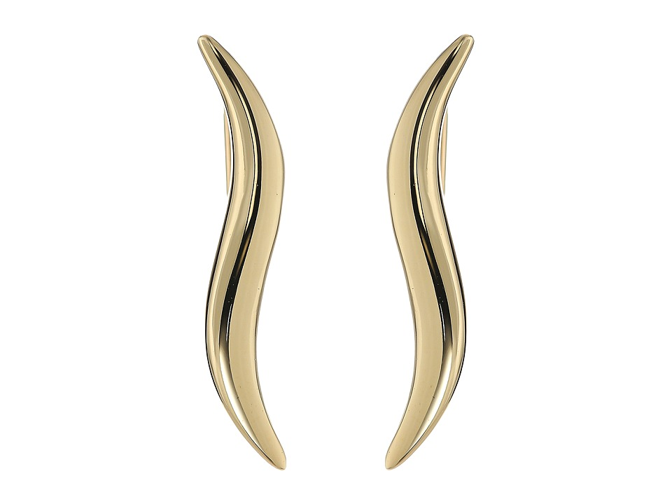 Dee Berkley - 14KT Yellow Gold Wavy Climber Earrings (Yellow Gold) Earring