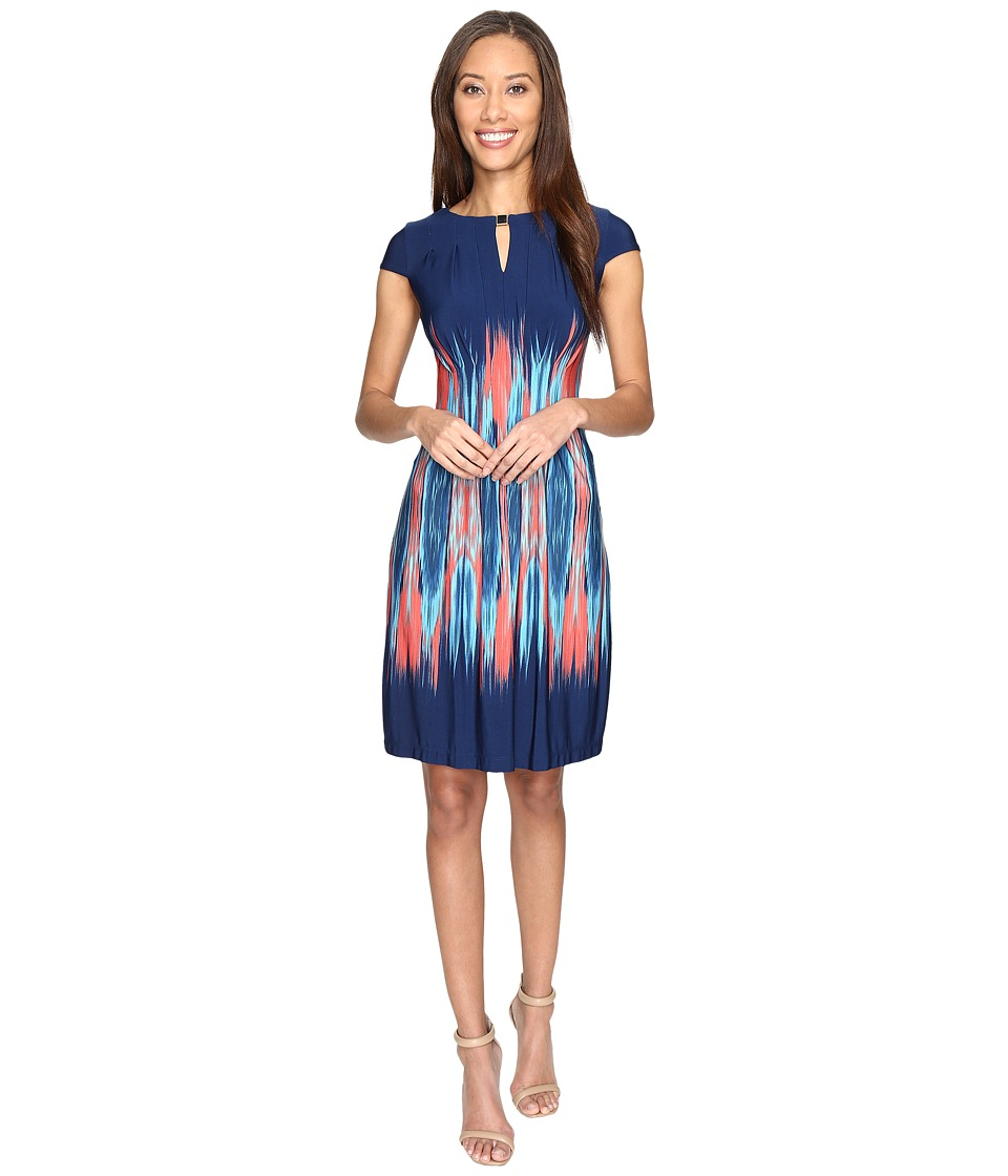 Tahari by ASL Flame Print Jersey Sheath Dress (Navy/Coral/Turquoise) Women