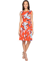 Tahari by ASL - Textured Crepe Floral Tie Side A-Line Dress