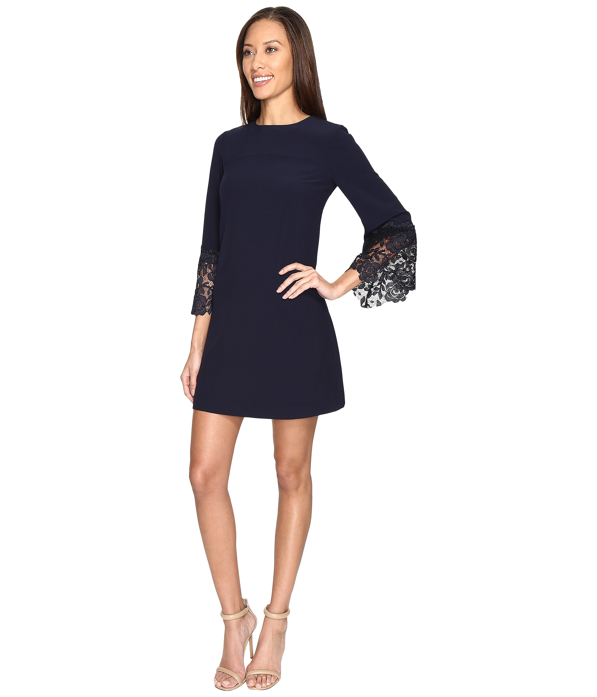 Tahari By Asl Lace Bell Sleeve Navy Shift Dress Zappos