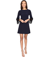 Tahari by ASL - Lace Bell Sleeve Navy Shift Dress