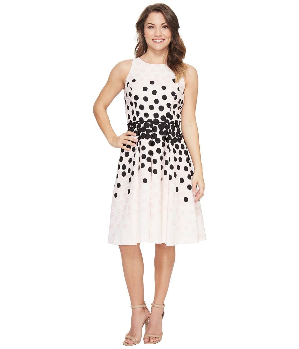 Tahari by ASL Petite Petite Dot Print Fit-and-Flare Dress (Blush/Black) Women