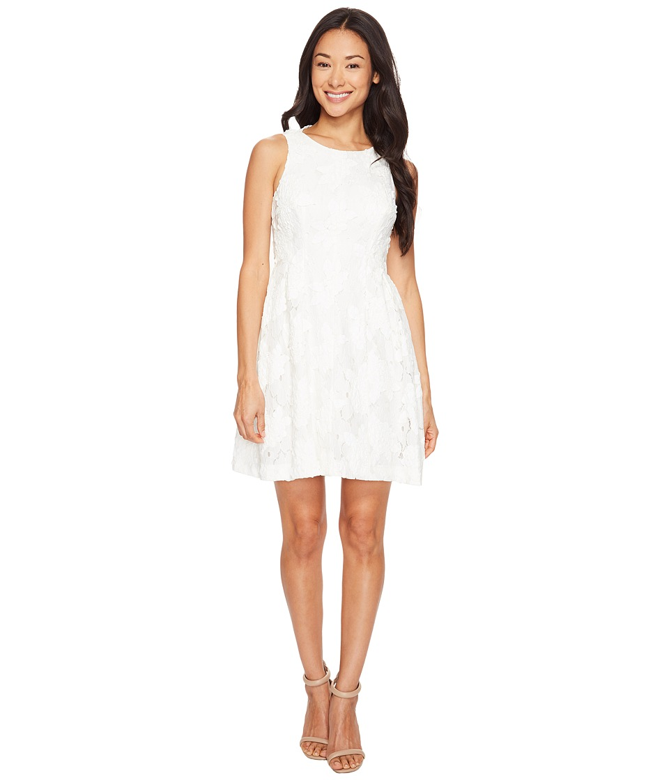 Tahari by ASL Petite Petite Leather and Lace Textured A-Line Dress (White) Women