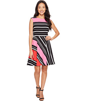 Tahari by ASL Petite - Petite Crepe Multi Stripe A-Line Dress