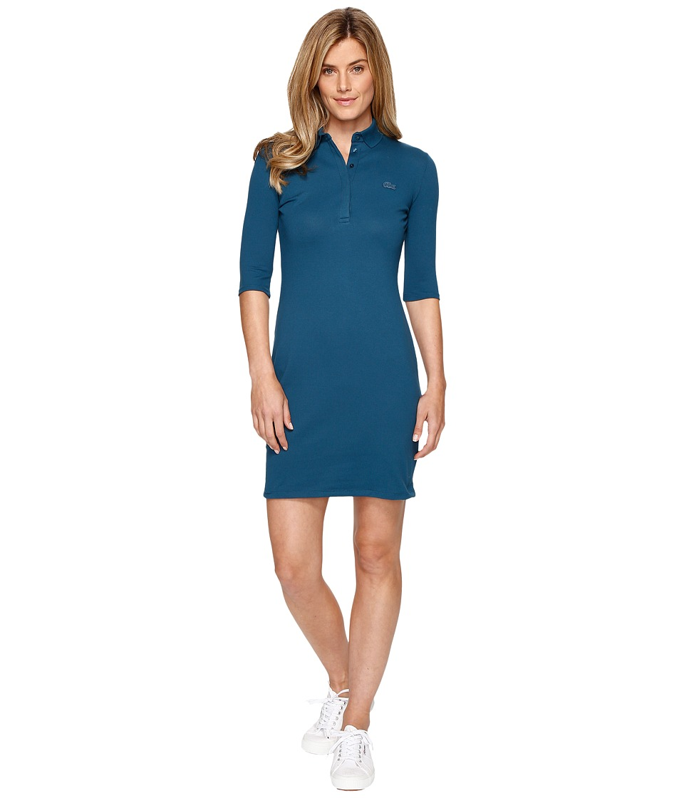 Lacoste Half Sleeve Pique Polo Dress (Legion Blue) Women