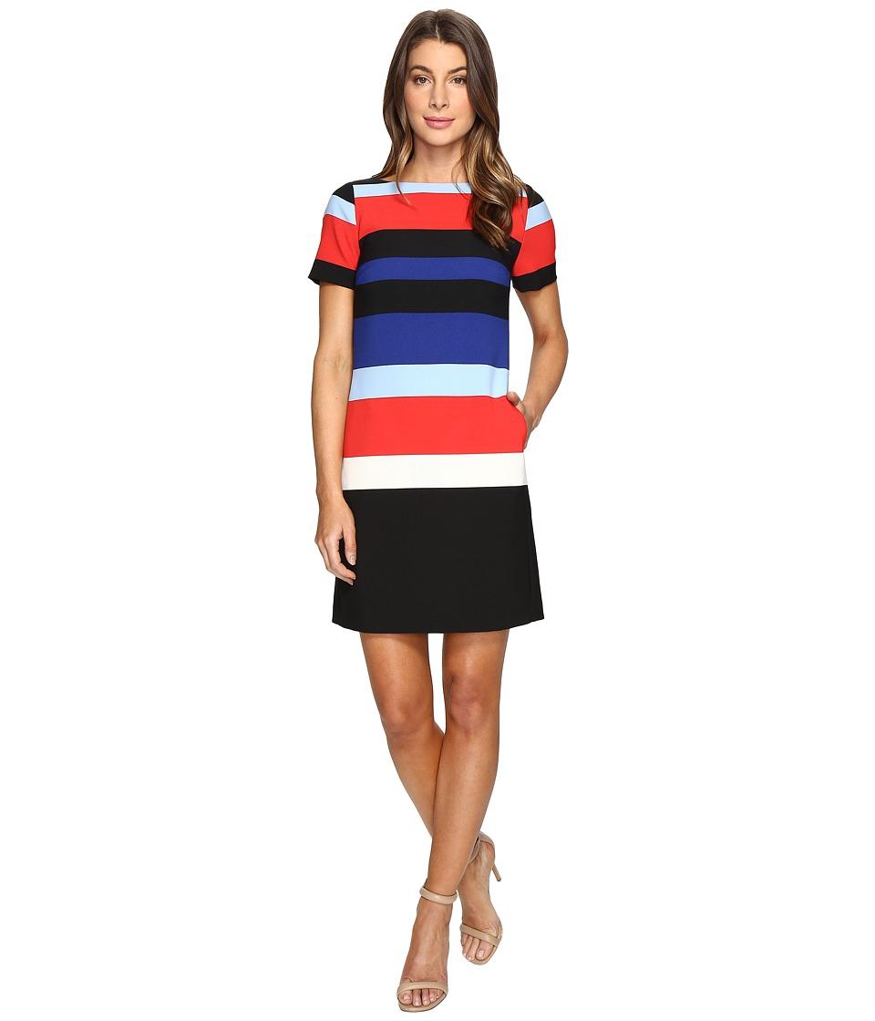 Tahari by ASL Crepe Thick Stripe Shift Dress (Red/Cobalt/Black) Women